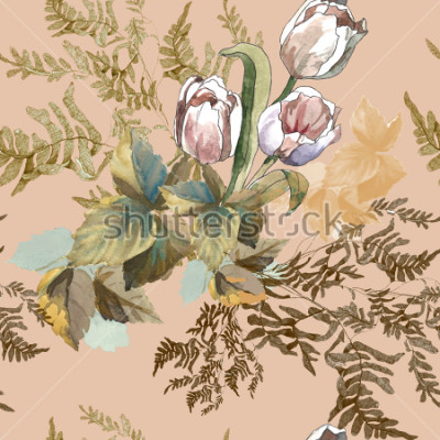 Image 3 white tulips and grass watercolor on pink beige background seamless pattern for fabrics, paper