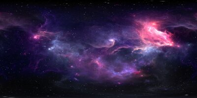Image 360 degree equirectangular projection space background with nebula and stars, environment map. HDRI spherical panorama