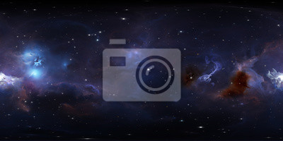 Image 360 degree space background with glowing huge nebula with young stars, equirectangular projection, environment map. HDRI spherical panorama.