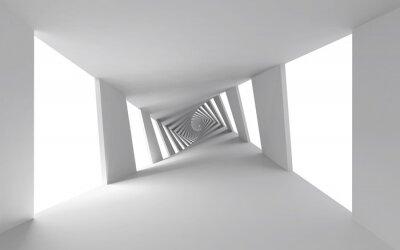 Image 3d abstrait avec couloir en spirale torsadée blanc
