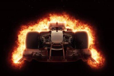 Image 3D, course, voiture, brûlé, explosion, effet
