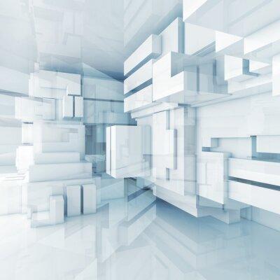 Image 3d fond bleu high-tech avec des cubes chaotiques
