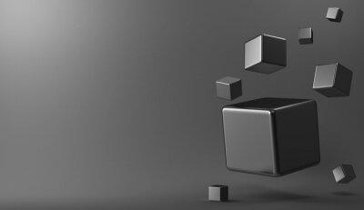 Image 3D, fond, métal, cubes