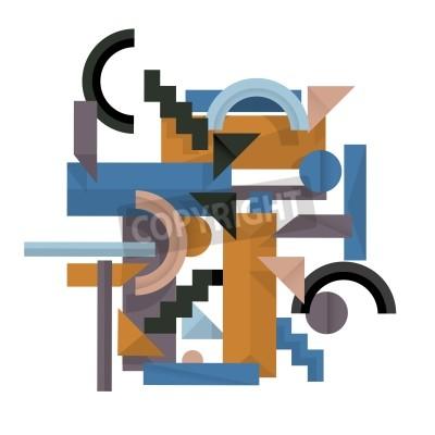 Image 3D, géométrique, fond, cubisme, Style