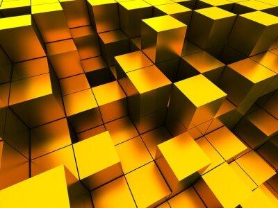 Image 3d illustration de cubes d'or