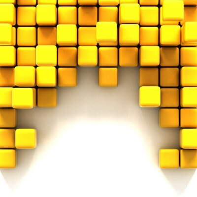 Image 3d illustration of yellow cubes