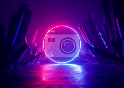 Image 3d render, abstract background, cosmic landscape, round portal, pink blue neon light, virtual reality, energy source, glowing round frame, dark space, ultraviolet spectrum, laser ring, rocks, ground