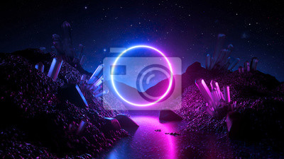 Image 3d render, abstract neon background, mystical cosmic landscape, pink blue glowing ring over terrain, round frame, virtual reality, dark space, ultraviolet light, crystal mountains, rocks, ground
