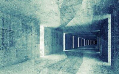 Image 3d render, bleu-vert tonique abstrait vide béton bac intérieur