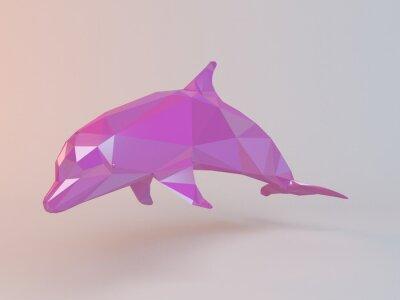 Image 3D rose low poly (dauphin) à l'intérieur d'une scène blanche avec une haute qualité de rendu pour être utilisé comme un logo, une médaille, un symbole, une forme, un emblème, une icône, une histoire p