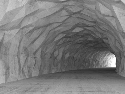 Image 3D, tunnel, intérieur, chaotique, polygonal, soulagement