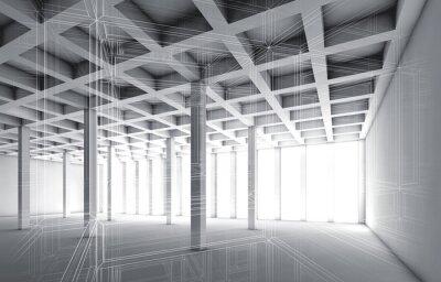 Image 3D, vide, intérieur, fil, cadre, effet