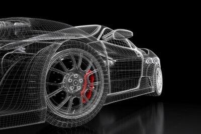 Image 3D, voiture, maille, noir