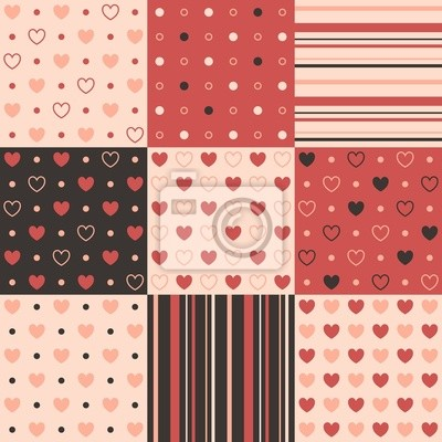 9 vecteur seamless patterns avec des coeurs, des bandes et point.