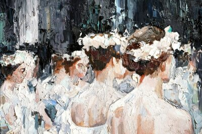 Image  A group of beautiful graceful ballerinas in white dresses and with flowers in hair, in the theater are preparing for the performance. Oil painting on canvas.