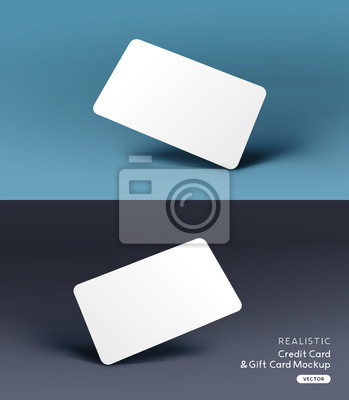 Image A realistic business credit / gift card placeholder mockup stationary layout with shadow effects. Vector illustration