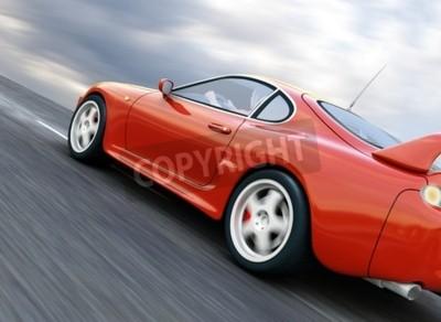 Image A Red Sports Car Speeding on Blurry Asphalt Road. 3D Render