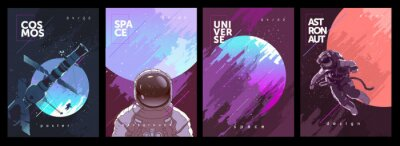 Image A set of vector illustrations. Posters and backgrounds about the space and the universe. Space odyssey, space, astronaut, planets.