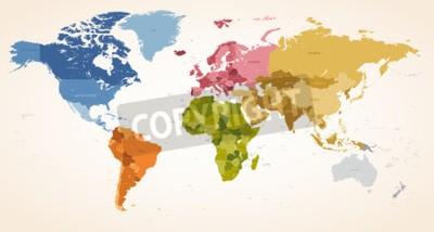 Image A Vintage couleurs High Detail vecteur Illustration de carte de la carte du monde entier.
