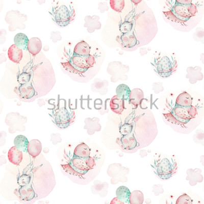 Image A watercolor spring illustration of the cute easter baby bunny. Rabbit cartoon animal seamless pattern with balloon nd bird