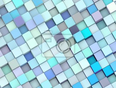 image abstract 3d cubes dans diffrentes nuances de bleu