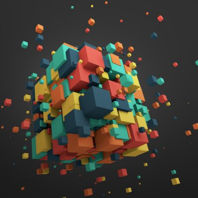 Image Abstract 3D Rendering of Flying Cubes.
