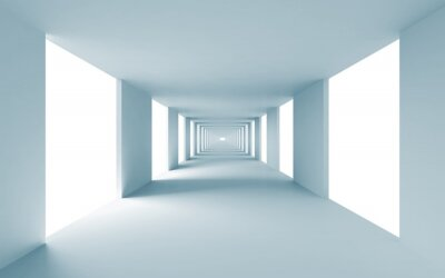 Image Abstract architecture 3d background, empty blue corridor
