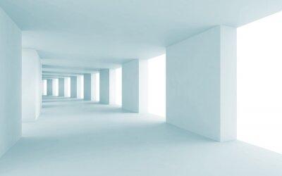 Image Abstract architecture 3d, couloir bleu vide