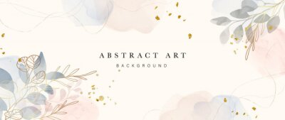 Image Abstract art background vector. Luxury minimal style wallpaper with golden line art flower and botanical leaves, Organic shapes, Watercolor. Vector background for banner, poster, Web and packaging.