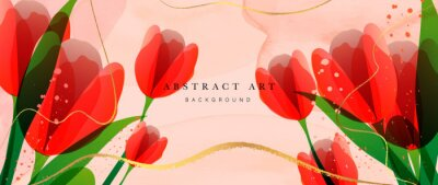 Image Abstract art flower background vector. Luxury minimal style wallpaper with golden line art floral and botanical leaves, Tulip, rose, Spring growing flowers and Organic shapes watercolor.