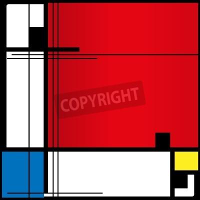 Image Abstract background dans le style d'un cubisme, rouge, bleu, carrés jaunes