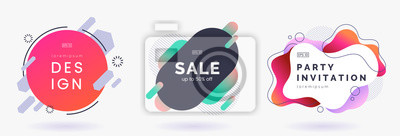 Image Abstract colorful badges set isolated on white background. Abstract dynamic geometric banners. Modern backdrop with place for text. Applicable for advertising, invitation, price tags. Vector eps 10.