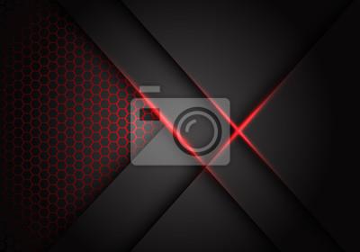 Image Abstract grey metallic overlap red light hexagon mesh design modern luxury futuristic technology background vector illustration.