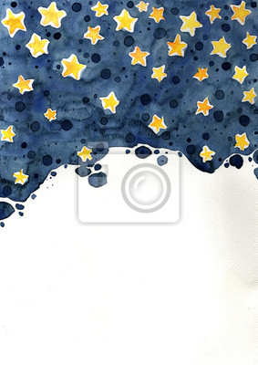 Abstract night sky and yellow star watercolor hand painting on white background for decoration on artwork.