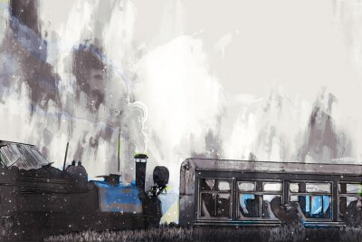 Image Abstract painting of vintage train with smoke, digital painting
