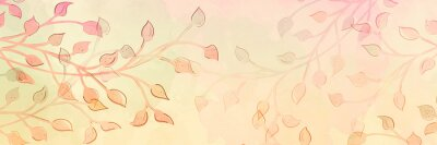 Image abstract watercolor leaves and vines, plant branches in pastel pink orange peach and yellow fall colors with minimal outline silhouette in modern art illustration or painting, plants in autumn design