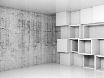 Image Abstrait arrière-plan vide intérieur avec des cubes blancs