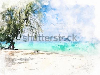 Image Abstrait coloré magnifique chaîne de montagnes et eau de mer à Krabi, Thaïlande sur fond de peinture illustration aquarelle.