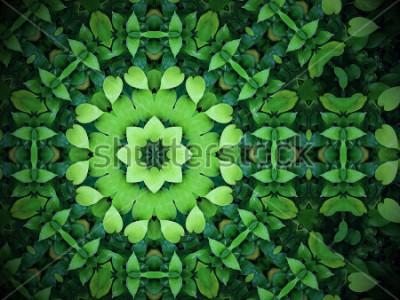 Image Abstrait de verdure, feuilles vertes en forme de coeur avec effet Kaléidoscope