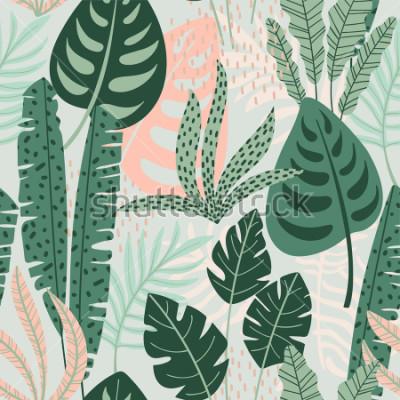 Image Abstrait modèle sans couture avec des feuilles tropicales. Main dessiner la texture. Modèle de vecteur