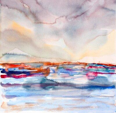 Image abstraite paysage coloré aquarelle peinte