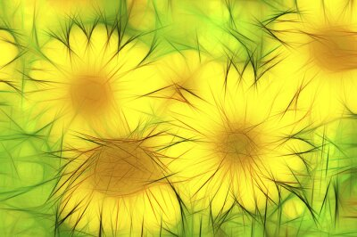 Image abstrakte gelbe moderne Illustration Sonnenblumen