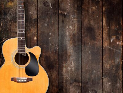 Image Acoustic Guitar on Rustic Background