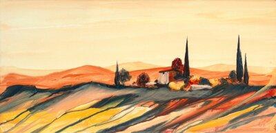 Image Acrylfarben Gemälde einer stark farbigen bunten Toskana Landschaft mit Haus, Bäumen und Zypressen mit fließender Farbe, Farbspritzern und Tropfen mit Textfreiraum
