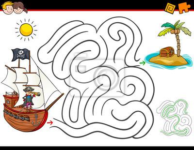 Coloriage De Cochon Pirate.Activite De Labyrinthe De Dessin Anime Avec Pirate Et Tresor