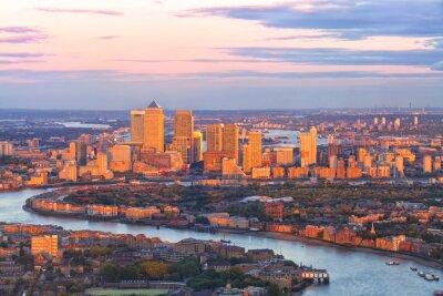 Image Aérien, vue, est, londres, financier, secteur, canari, quai, Docklands, entouré, Thames, rivière ...