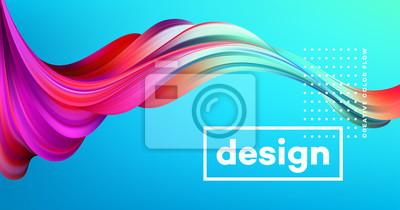 Image Affiche de flux coloré moderne. Forme liquide d'onde sur fond de couleur bleue. Conception d'art pour votre projet de conception. Illustration vectorielle