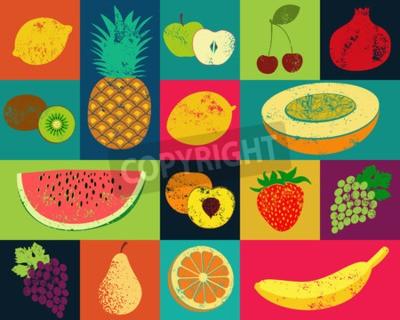 Image Affiche de fruit de style grunge d'art de bruit. Collection de fruits rétro. Vintage vecteur ensemble de fruits.