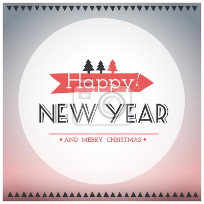 Joyeux Noel Et Nouvel An.Image Affiche Hippie Nouvel An Et Joyeux Noel Vector