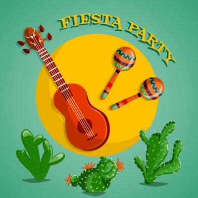 Image Affiche mexicaine Party Fiesta avec maracas, guitare et cactus mexicain. Brochure ou le modèle de carte de voeux. Vector illustration